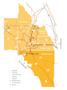 Map of Central FL and surrounding area.